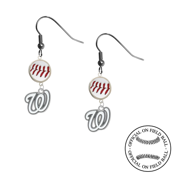 Washington Nationals MLB Authentic Rawlings On Field Leather Baseball Dangle Earrings