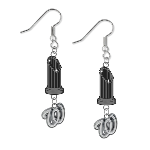 Washington Nationals MLB World Series Trophy Dangle Earrings