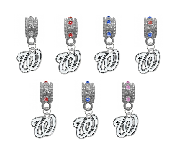 Washington Nationals MLB Baseball Crystal Rhinestone European Bracelet Charm