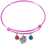 Washington Nationals Pink MLB Expandable Wire Bangle Charm Bracelet