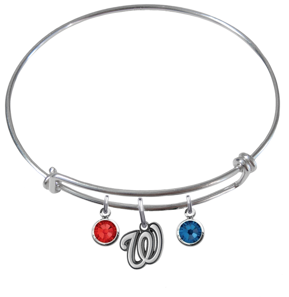 Washington Nationals MLB Expandable Wire Bangle Charm Bracelet