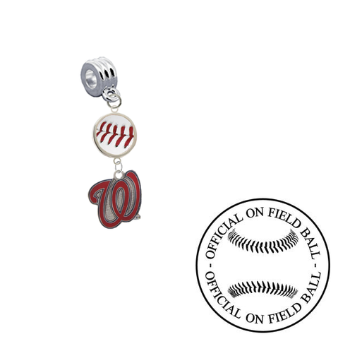 Washington Nationals 2 On Field Baseball Universal European Bracelet Charm (Pandora Compatible)