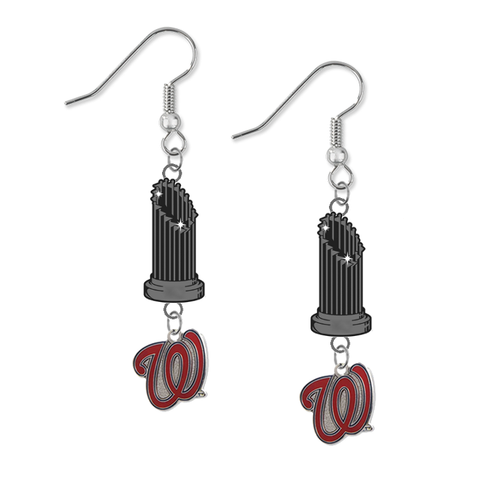 Washington Nationals Style 2 MLB World Series Trophy Dangle Earrings