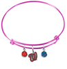 Washington Nationals Style 2 Pink MLB Expandable Wire Bangle Charm Bracelet