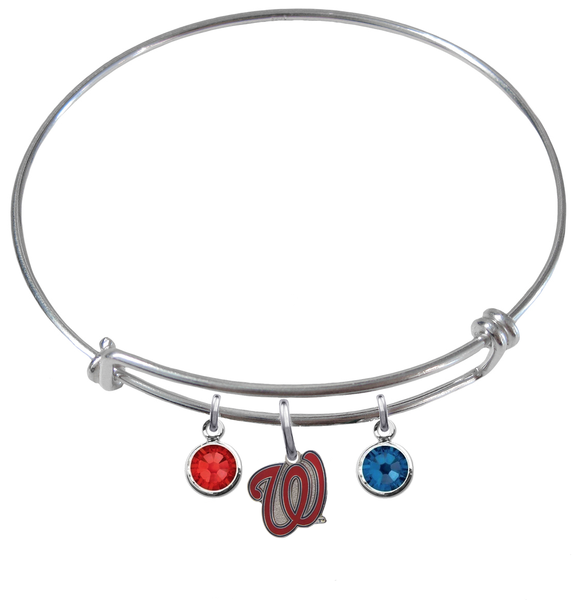 Washington Nationals Style 2 MLB Expandable Wire Bangle Charm Bracelet