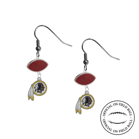 Washington Redskins NFL Authentic Official On Field Leather Football Dangle Earrings