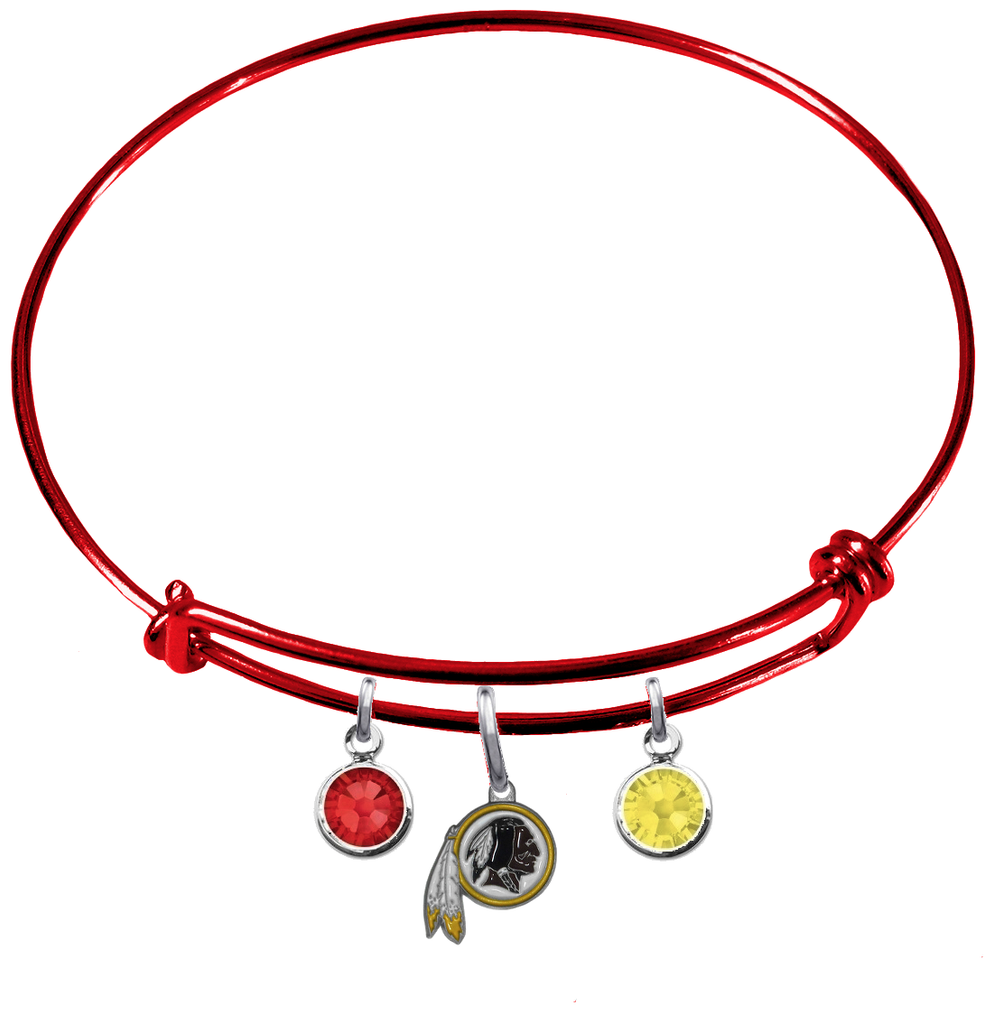 Washington Redskins Red NFL Expandable Wire Bangle Charm Bracelet