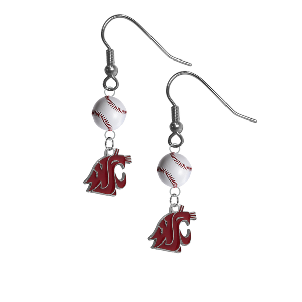 Washington State Cougars NCAA Baseball Dangle Earrings
