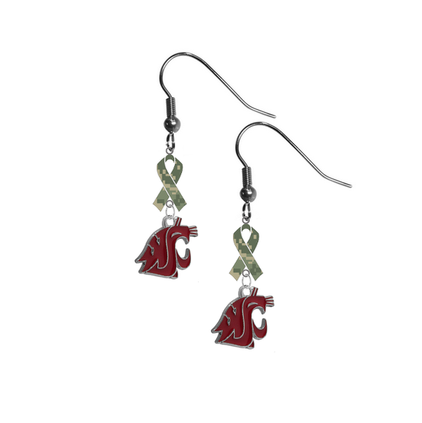 Washington State Cougars Salute to Service Camouflage Camo Ribbon Dangle Earrings