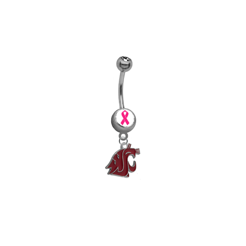 Washington State Cougars Breast Cancer Awareness Belly Button Navel Ring