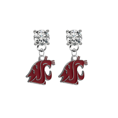 Washington State Cougars CLEAR Swarovski Crystal Stud Rhinestone Earrings