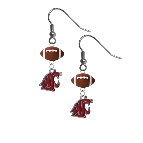 Washington State Cougars NCAA Football Dangle Earrings
