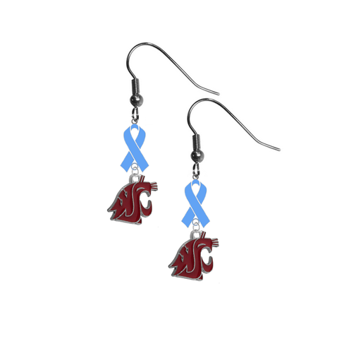 Washington State Cougars Prostate Cancer Awareness Light Blue Ribbon Dangle Earrings