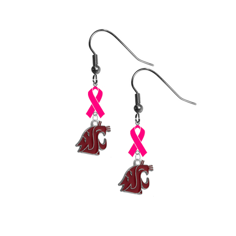 Washington State Cougars Breast Cancer Awareness Hot Pink Ribbon Dangle Earrings