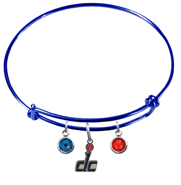 Washington Wizards DC Logo BLUE Color Edition Expandable Wire Bangle Charm Bracelet