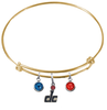 Washington Wizards DC Logo GOLD Color Edition Expandable Wire Bangle Charm Bracelet