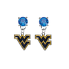 West Virginia Mountaineers BLUE Swarovski Crystal Stud Rhinestone Earrings