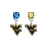 West Virginia Mountaineers BLUE & GOLD Swarovski Crystal Stud Rhinestone Earrings