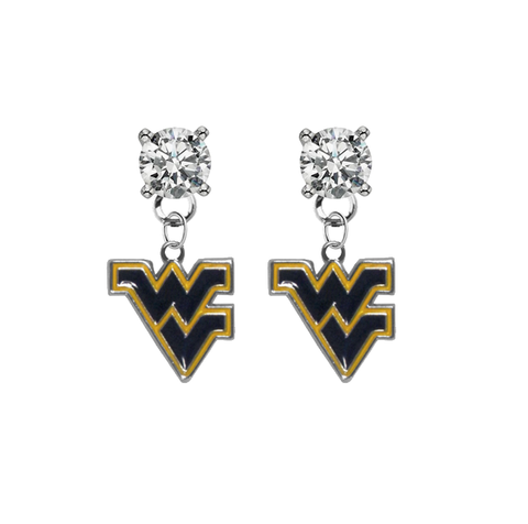 West Virginia Mountaineers CLEAR Swarovski Crystal Stud Rhinestone Earrings