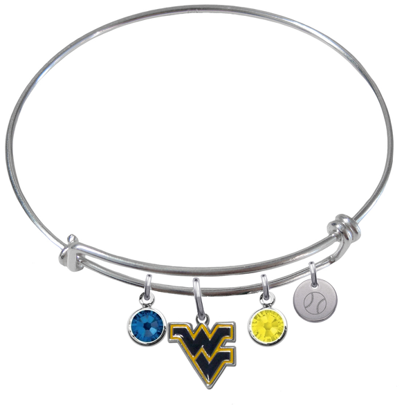 West Virginia Mountaineers Baseball Expandable Wire Bangle Charm Bracelet