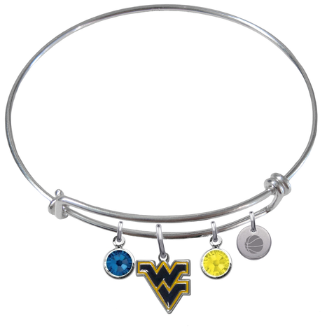 West Virginia Mountaineers Basketball Expandable Wire Bangle Charm Bracelet