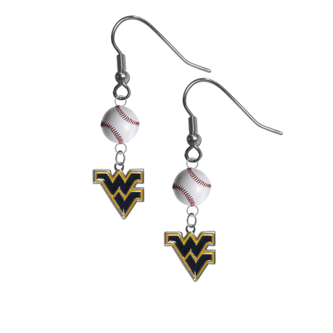West Virginia Mountaineers NCAA Baseball Dangle Earrings