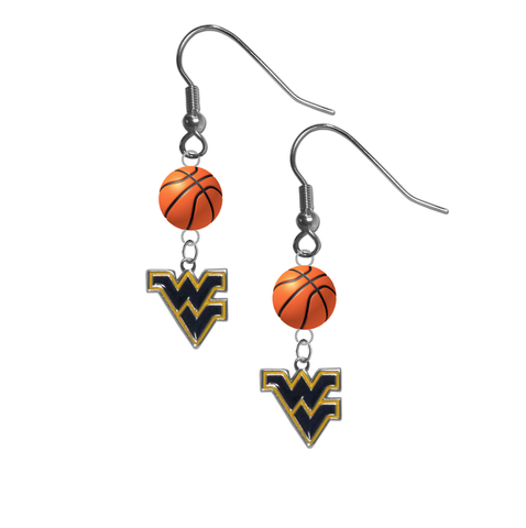 West Virginia Mountaineers NCAA Basketball Dangle Earrings
