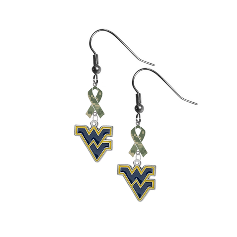 West Virginia Mountaineers Salute to Service Camouflage Camo Ribbon Dangle Earrings
