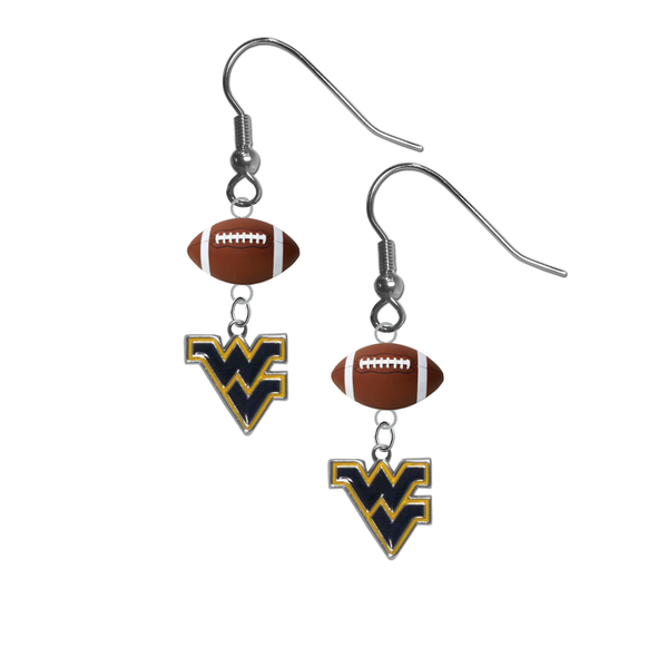 West Virginia Mountaineers NCAA Football Dangle Earrings