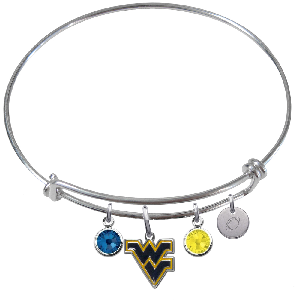 West Virginia Mountaineers Football Expandable Wire Bangle Charm Bracelet