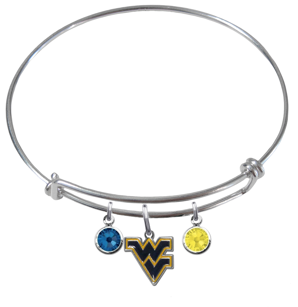 West Virginia Mountaineers NCAA Expandable Wire Bangle Charm Bracelet