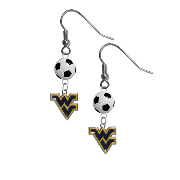 West Virginia Mountaineers NCAA Soccer Dangle Earrings