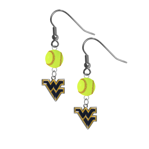 West Virginia Mountaineers NCAA Fastpitch Softball Dangle Earrings