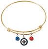 Winnipeg Jets Color Edition GOLD Expandable Wire Bangle Charm Bracelet