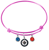 Winnipeg Jets Color Edition PINK Expandable Wire Bangle Charm Bracelet