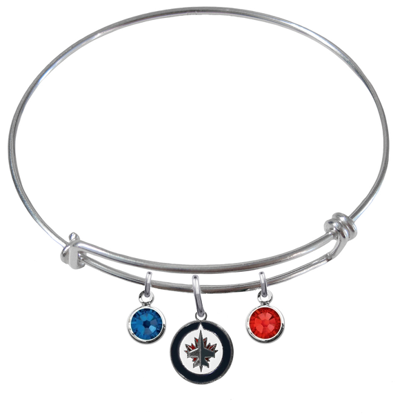 Winnipeg Jets NHL Expandable Wire Bangle Charm Bracelet