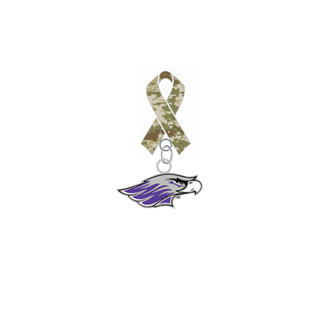 Wisconsin Whitewater Warhawks Salute to Service Military Appreciation Camo Ribbon Lapel Pin