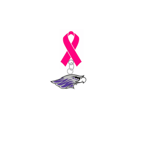 Wisconsin Whitewater Warhawks Mascot Breast Cancer Awareness / Mothers Day Pink Ribbon Lapel Pin