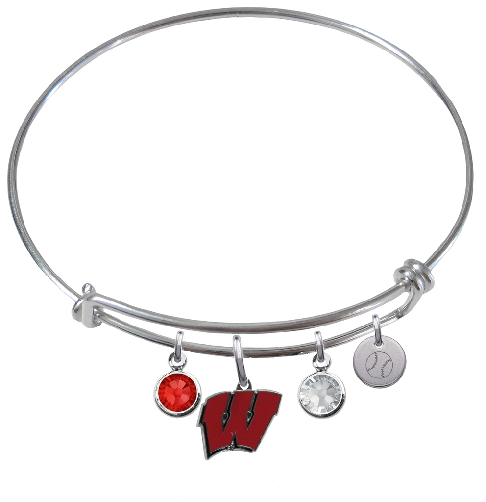 Wisconsin Badgers Baseball Expandable Wire Bangle Charm Bracelet
