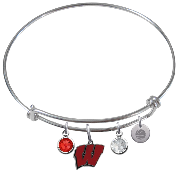 Wisconsin Badgers Basketball Expandable Wire Bangle Charm Bracelet