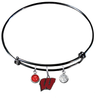 Wisconsin Badgers BLACK Expandable Wire Bangle Charm Bracelet