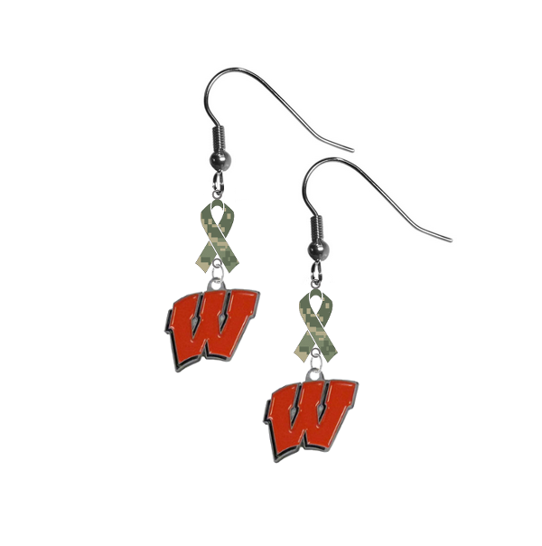 Wisconsin Badgers Salute to Service Camouflage Camo Ribbon Dangle Earrings