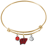 Wisconsin Badgers GOLD Expandable Wire Bangle Charm Bracelet