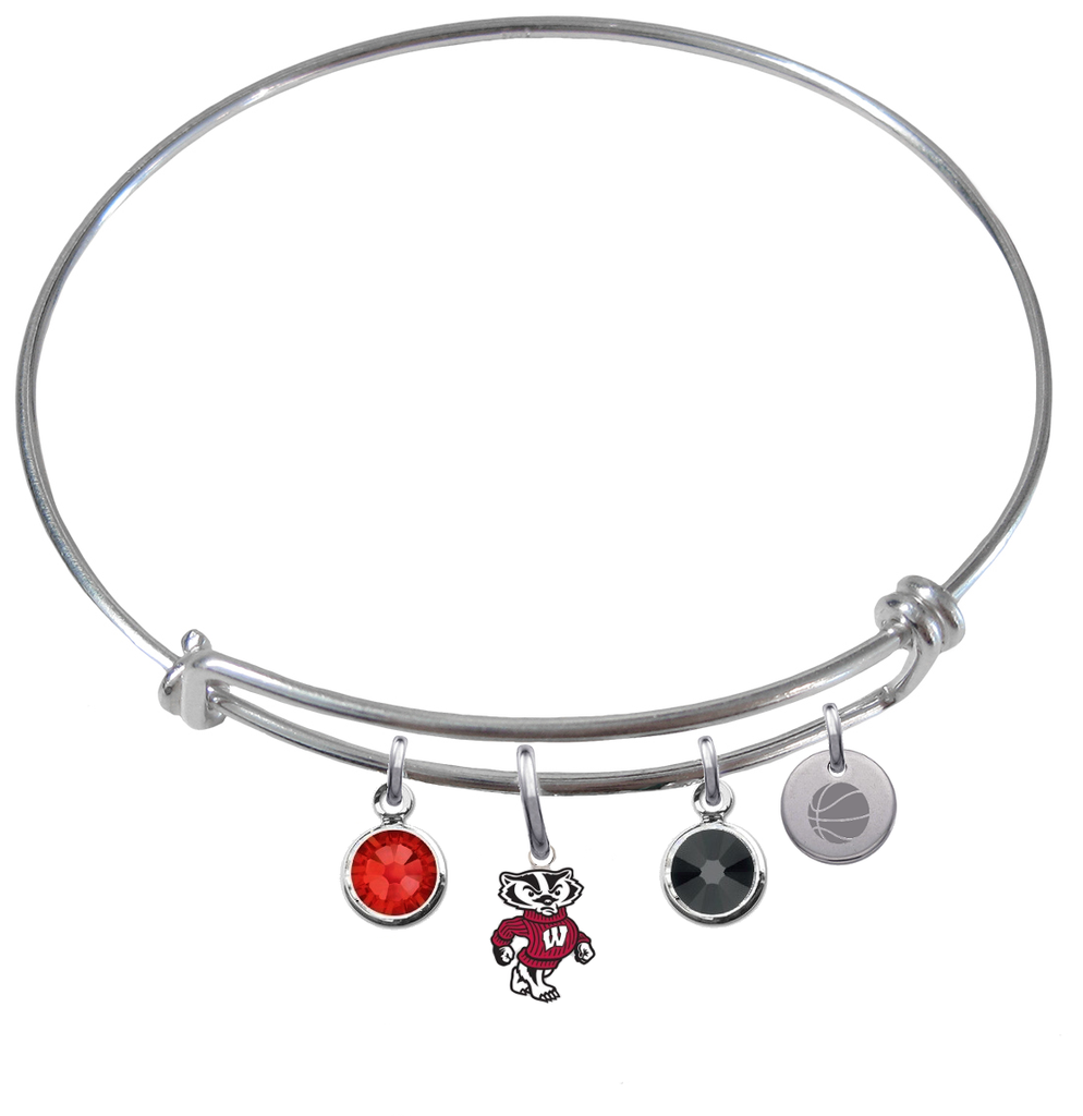 Wisconsin Badgers Mascot Basketball Expandable Wire Bangle Charm Bracelet