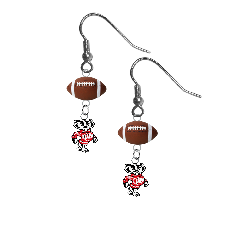 Wisconsin Badgers Mascot NCAA Football Dangle Earrings