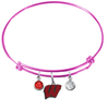 Wisconsin Badgers PINK Expandable Wire Bangle Charm Bracelet