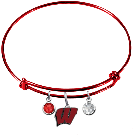 Wisconsin Badgers RED Expandable Wire Bangle Charm Bracelet