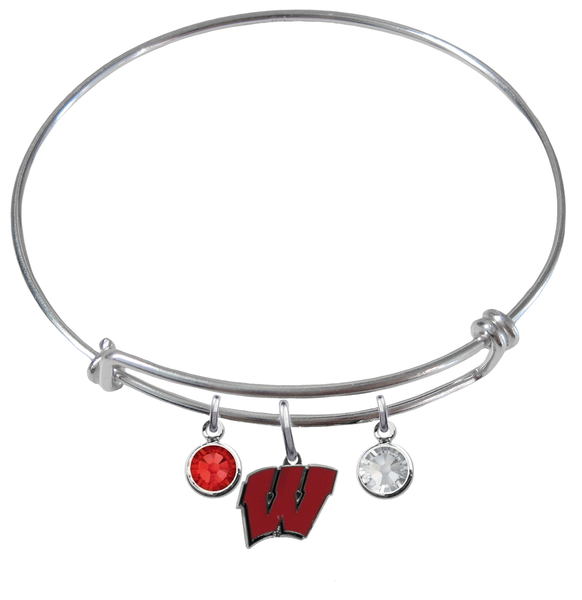 Wisconsin Badgers NCAA Expandable Wire Bangle Charm Bracelet