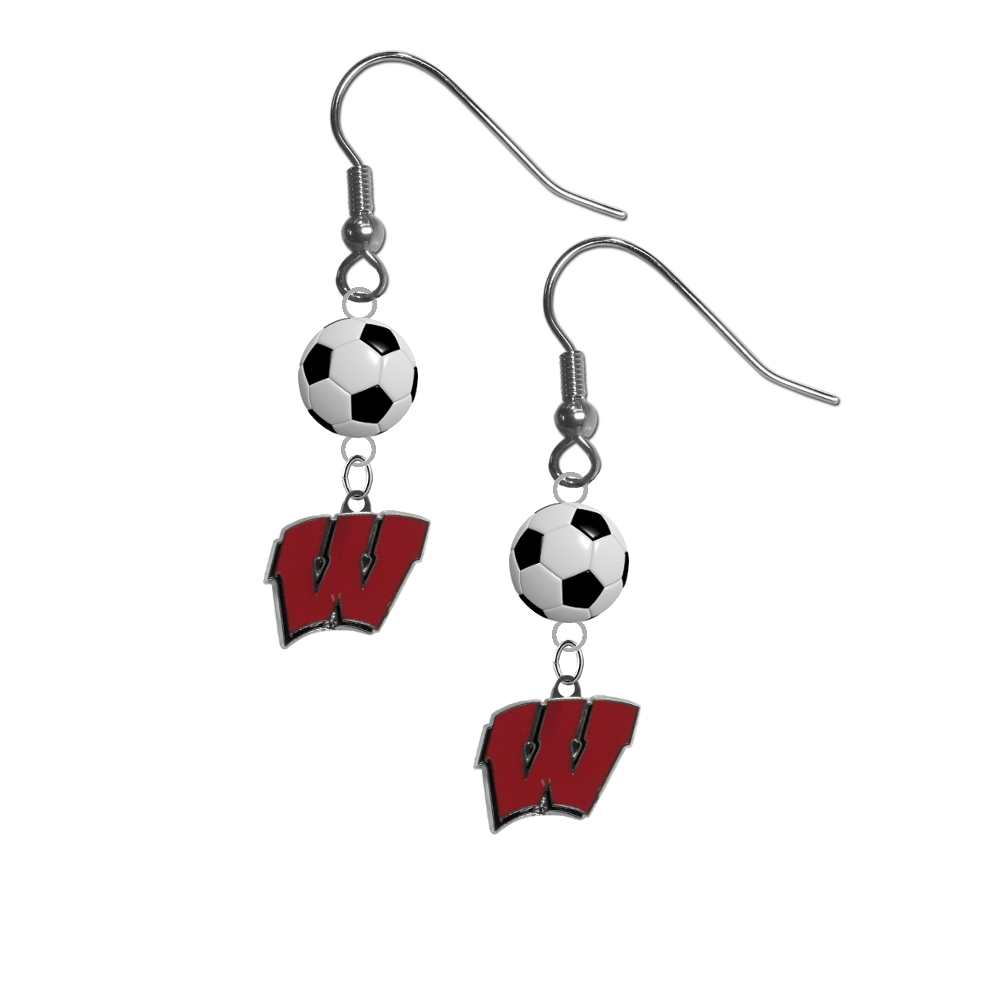 Wisconsin Badgers NCAA Soccer Dangle Earrings