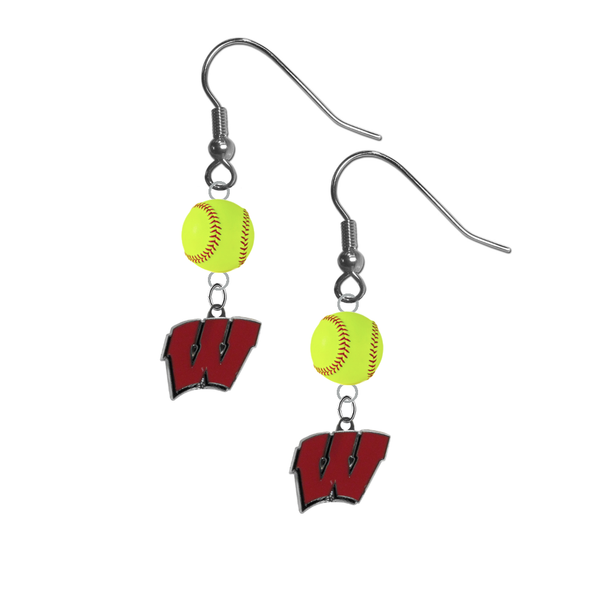 Wisconsin Badgers NCAA Fastpitch Softball Dangle Earrings